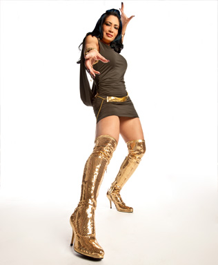 Melina Perez achtergrond possibly containing a leotard, tights, and a zwempak, badpak called Melina Photoshoot Flashback