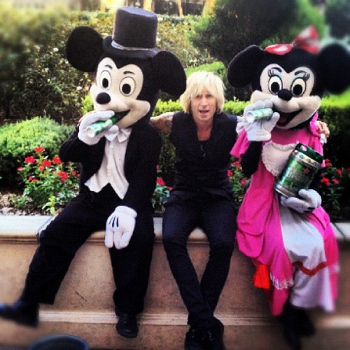 Mike Dirnt with Mickey and Minnie