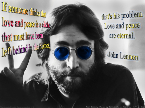 John Lennon 바탕화면 containing sunglasses entitled PEACE AND 사랑