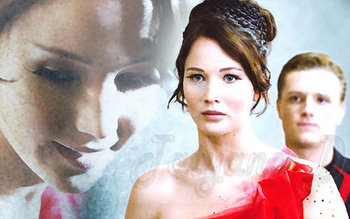 Peeta Mellark and Katniss Everdeen wolpeyper possibly with a portrait entitled Peeta Mellark and Katniss Everdeen