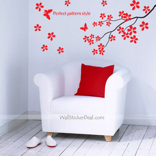 Perfer Pattern Style Branches with kupu-kupu dinding Stickers