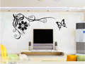 Phoenix Tail Flower With Butterfly Wall Stickers