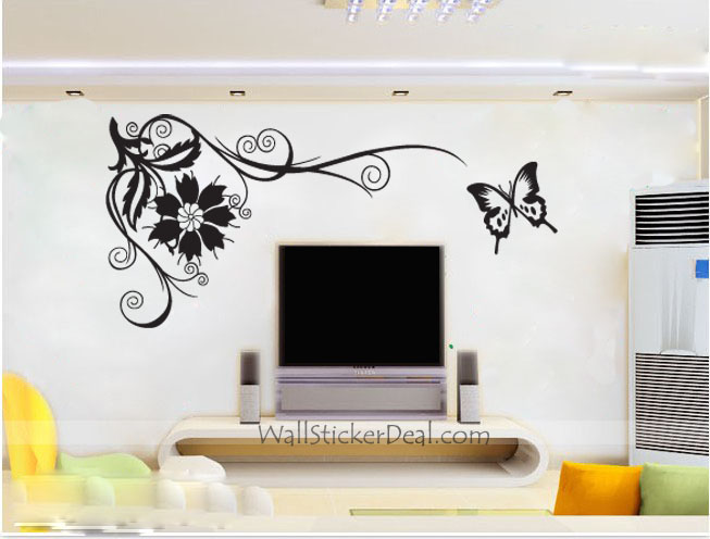 home decorating phoenix tail flower with butterfly wall stickers