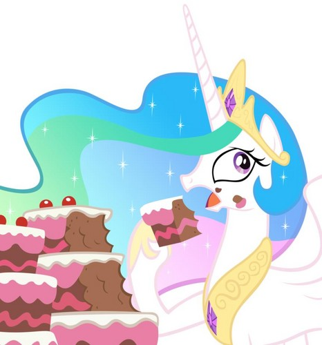 Princess Celestia eating a cake