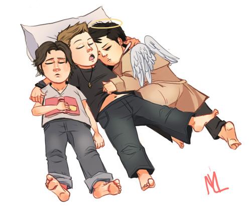 Sam, Dean, Cas