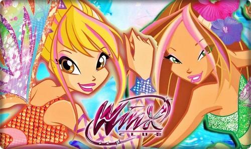 Winx Club Hintergrund containing Anime called Stella & Flora Sirenix ~ Hintergrund