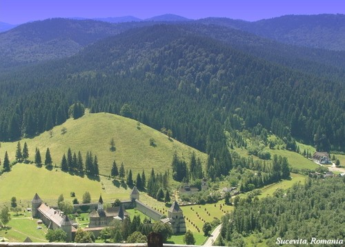 Sucevita monastery, Romania Moldavia - Carpathian mountains landscape