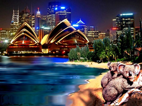 Australia wallpaper with a business district titled Sydney