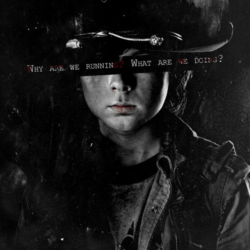 The Walking Dead Hintergrund possibly with a snap brim hat, a fedora, and a campaign hat titled Carl Grimes