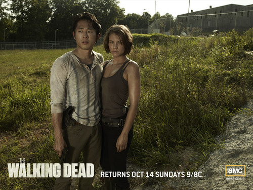 The Walking Dead پیپر وال containing a grainfield, a beech, and a mahogany entitled Glenn & Maggie