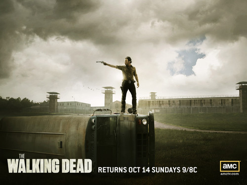 the walking dead wallpaper possibly with a nuclear reactor, a lectern, and a horse trail entitled Rick Grimes