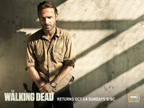 The Walking Dead kertas dinding probably containing a sign, a green beret, and a jalan called Rick Grimes