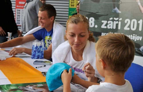 Tomas Berdych and Petra Kvitova signed in Prostejov