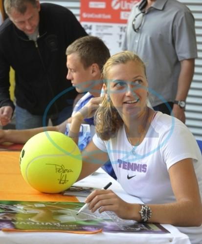 Tomas Berdych and Petra Kvitova signed in Prostejov..