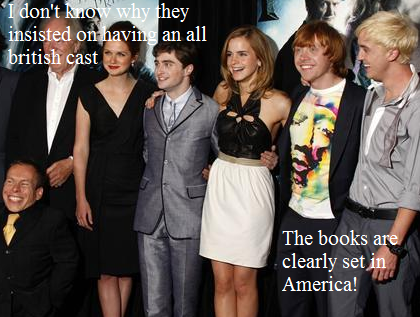Harry Potter Vs. Twilight wolpeyper containing a business suit, a dress suit, and a well dressed person called Why would they have an all British cast?
