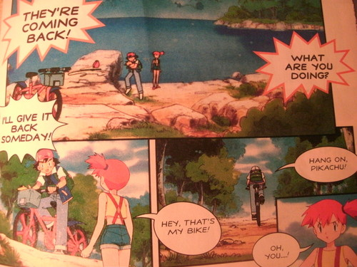 ash steals misty's bicycle comic