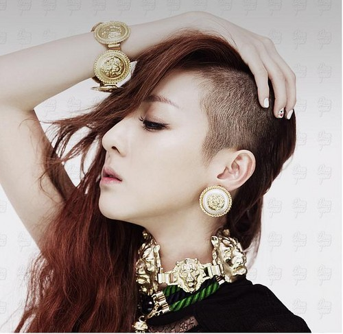 dara 2ne1 half shaved head 2012