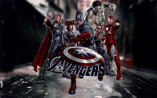 The Avengers wallpaper probably with a horse trail, a lippizan, and a street titled the Avengers