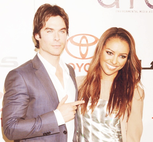Damon & Bonnie wallpaper with a business suit and a suit called     Ian Somerhalder and Kat Graham | 2012 EMA's