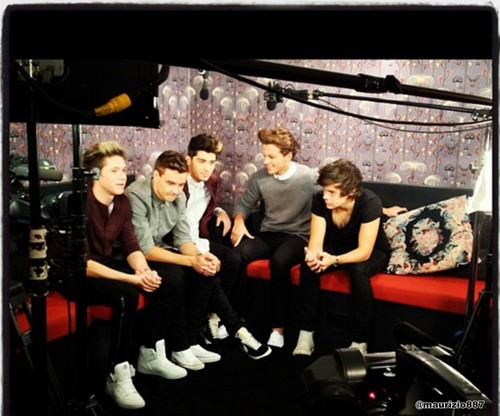 One Direction wallpaper probably with a drawing room, a living room, and a family room entitled  one direction, Radio Rush 2012