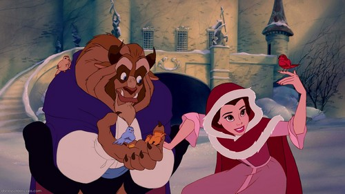 Belle and Beast with birds
