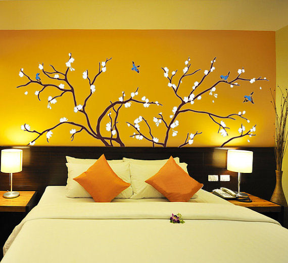 Birds fly in plum tree wall stickers home decorating photo 32361621 fanpop - Decorative wall sticker ...