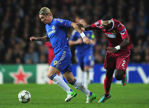Fernando Torres achtergrond containing a soccer ball, a soccer player, and a vleugelverdediger, fullback titled Chelsea - FC Nordsjaelland, 02.10.2012, Champions League