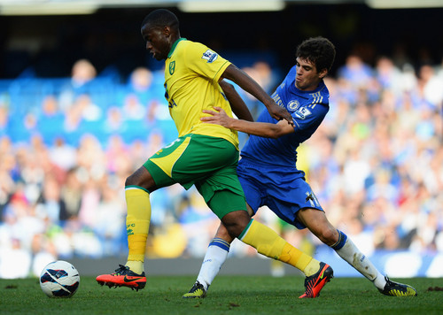 चेल्सी एफ सी वॉलपेपर probably containing a fullback, a सॉकर player, and a सॉकर ball called Chelsea - Norwich, 06.10.2012, Premier League