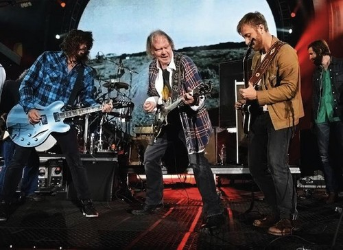 Dave Grohl, Neil Young, and Dan Auerbach at Global Citizen Festival