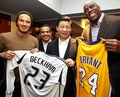 David Beckham and Magic Johnson