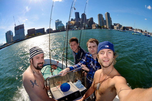 Keith Harkin achtergrond possibly with a bader called Fishing in Boston with Colm, Barry and Dave