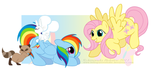 Fluttershy and regenboog Dash Reversed