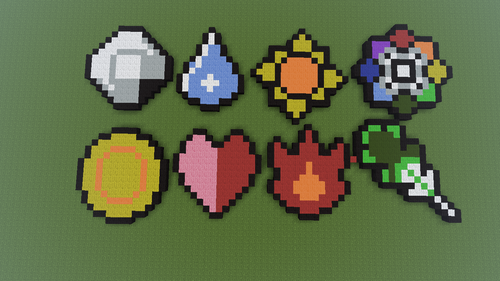 pokémon wallpaper called Gym Badges Pixel Art.