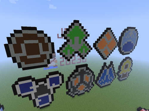 Gym Badges Pixel Art.