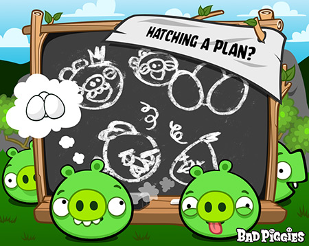 Angry Birds karatasi la kupamba ukuta possibly with a sign called Hatching A Plan?