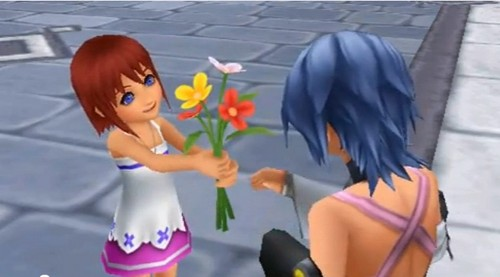 Kairi gives Aqua flowers and Aqua gave her a gift