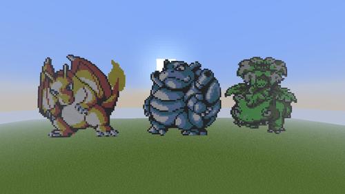Minecraft Pixel Art! fond d'écran entitled Kanto Trio!!!