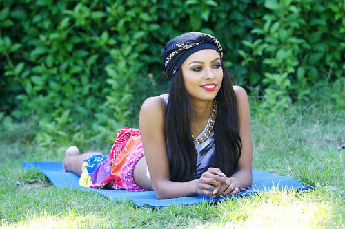 Kat Graham doing yoga in the park in Hollywood