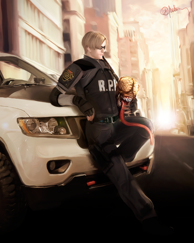 Resident Evil wallpaper titled Drawing Art of Leon Kennedy R.P.D outfit