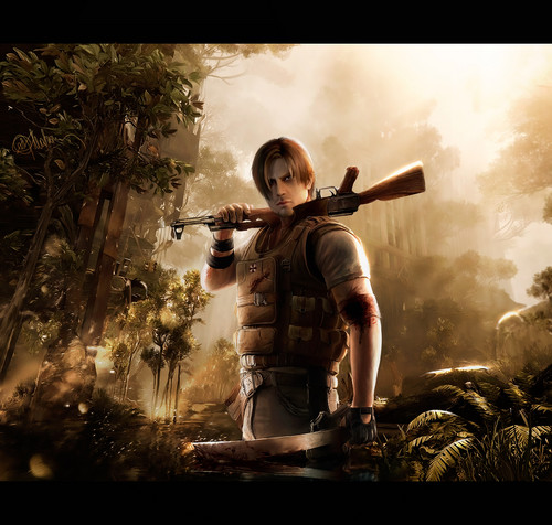 Resident Evil wallpaper possibly containing a rifleman called Drawing Art of Leon Kennedy - RE Damnation