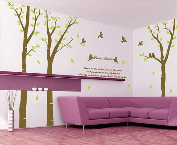 প্রণয় Poem বৃক্ষ With Birds দেওয়াল Sticker