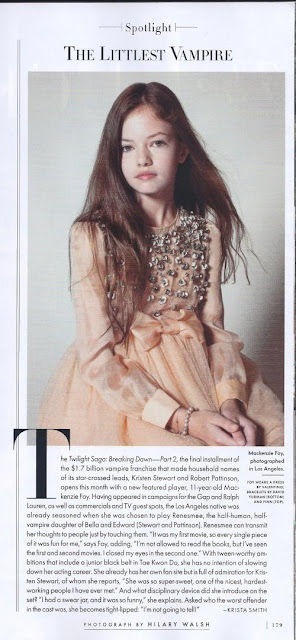 Mackenzie Foy(Renesmee) in Vanity Fair-mentions on screen mom,Kristen Stewart