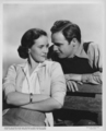 Marlon Brando and eresa Wright in a publicity still for The Men.