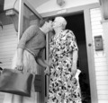Marlon Brando kisses his grandmother as he heads to the studio for a day of filming The Men, 1949. - marlon-brando photo