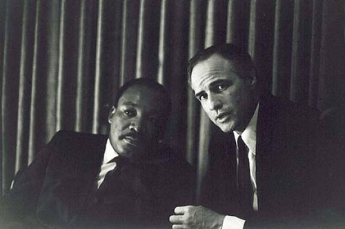 Marlon Brando wallpaper with a business suit, a suit, and a three piece suit entitled Marlon Brando meets Dr. Martin Luther King, Jr.