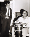 Marlon Brando plays the congas with Cuban novelist Guillermo Cabrera Infante - 1956