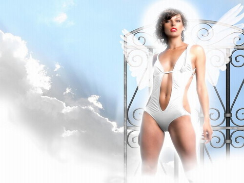 Milla Jovovich karatasi la kupamba ukuta probably containing a maillot, a swimsuit, and a leotard called Milla