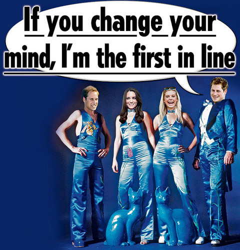 Prince William, Kate Middleton, Chelsy Davy and Prince Harry as they might look in Abba gear