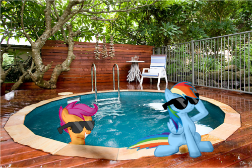 arc en ciel Dash at the hot tub