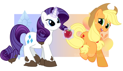 Rarity and applejack Reversed